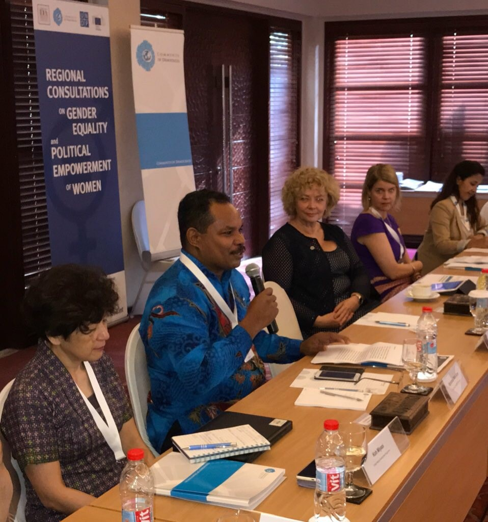 Left to right: Koh Miyaoi, Gender Team Leader for Asia, UNDP; Siprianus Bate Soro, Team Leader of Democratic Governance and Poverty Reduction Unit, UNDP Indonesia; Maria Leissner, Secretary General of the Community of Democracies; Leena Rikkila Tamang, Director, Asia-Pacific Office, International IDEA; Patricia Galdamez, Civil Society Coordinator, Community of Democracies.