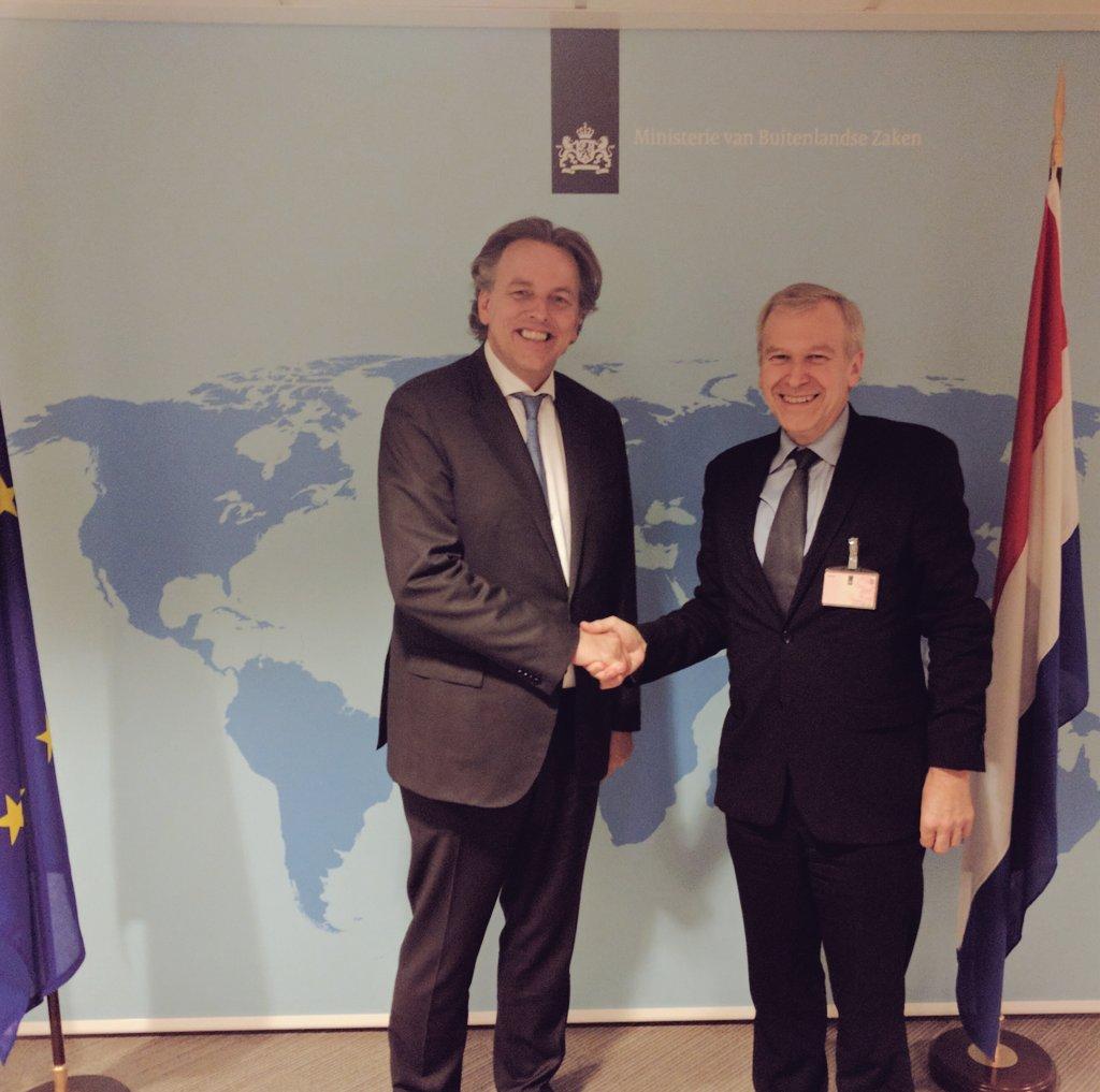 Dutch Foreign Minister Bert Koenders greets International IDEA Secretary General Yves Leterme inThe Hague, The Netherlands