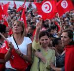 Tunisian women participate in a manifestation