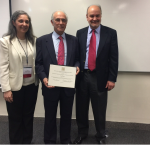 Sergio Bitar, member of the Board of Advisers of International IDEA received the Guillermo O'Donnell Award and Lectureship by the Latin American Studies Association (LASA) in Lima, Peru, on 29 April 2017. In this photo, Mr. Bitar is joined by the members of the award's committee, Prof. Gabriela Ippolito-O'Donnell and Prof. Kevin Midlebrook. Photo credit: LASA.
