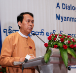 Yangon Region Chief Minister, U Phyo Min Thein, addressing regional government staff and representatives from the EU and International IDEA. Image: Thet Htun Aung.