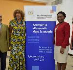 From left to right: Alfonso Ferrufino,Principal Assessor of International IDEA office in Bolivia; Marie-Laurence Jocelyn Lassègue, Senior Programme Manager of IDEA Haiti office; Eunide Innocent, Minister of Women Affairs and Gender Issues of Haiti; Marie Doucey, Senior Programme Officer atInternational IDEA Haiti.
