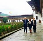Lord Bryan Davies of Oldham, Ms Davies and Sinead Nicola Jayawickreme inside the Tashischho Dzong. Photo Credit: Pema Yangzome