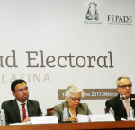 """Panel discussion on """"Money and politics"""" during the Conference on Electoral Integrity in Latin America held on August 14 and 15, 2017 in Mexico City. From left to right: Michael Svetlik, Vice President of the International Foundation for Electoral Systems (IFES); Juan Pablo Pozo, President of the National Electoral Council of Ecuador; María Marván, President of Transparencia Mexico and Dr Daniel Zovatto, Regional Director for Latin America and the Caribbean of International IDEA. Photo Credit: International"""