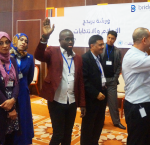 Participants from the 2nd BRIDGE workshop for Libyan journalists in Tunis. Photo credit: Emna Zghonda
