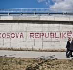 """Kosova Republikë!"" printed on a wall in Pristina, Kosovo"