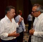 El Presidente de Colombia y Premio Nobel de la Paz Juan Manuel Santos, junto con Daniel Zovatto